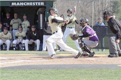 Manchester University's Hunter Lane takes a swing during a game in the 2016 season. Photo provided by Manchester University