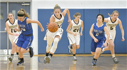 LCA senior Hope Fancil leads a fast break during the first quarter. Photo by Gary Nieter, Times-Union