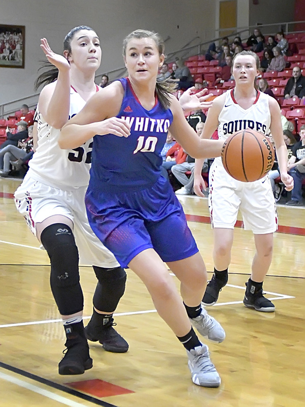 Whitko senior Ellie Snep moves to the basket during a Three Rivers Conference game earlier this season against Manchester. Photo by Gary Nieter, Times-Union