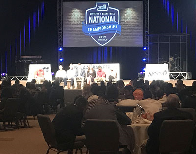The crowd at Tuesday's NCCAA National Championships Banquet listens as guest emcee Roger Grossman asks a panel of six student-athletes questions at Warsaw Community Church. Photo by Dale Hubler, Times-Union