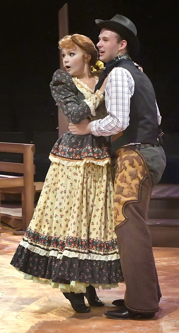 "Ado Annie Carnes (Jessica Minter, L) and Will Parker (Nick Case) get excited about their possible future together in ""Oklahoma!"" Photo by Gary Nieter, Times-Union."