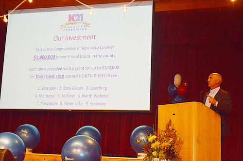 K21 President and CEO Rich Haddad gestures while explaining a slide laying out a plan to invest $1.8 million in nine rural communities for wellness programs. Photo by David Slone