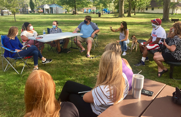 One Warsaw held the first in their series of Be Kind Talks Thursday at Winona Lake's Limitless Park. The conversation – about racism and anti-racism – was led by (L to R at the table): Jonna Watson, a psychologist; Sara Strahan, a local person of color;  Andrew Morton, associate pastor at Warsaw Evangelican Presbyterian Church; and Travis McConnell, with One Warsaw. Photo by Amanda Bridgman, Times-Union.