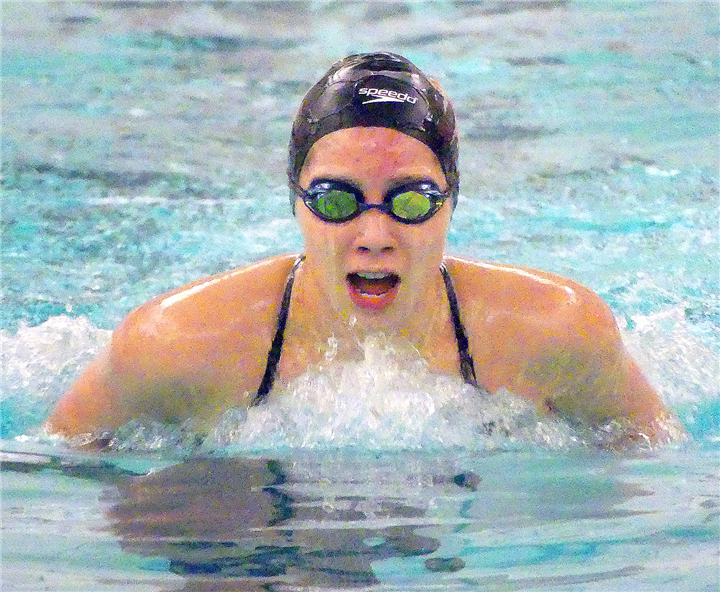 Photos by Gary Nieter, Times-Union Warsaw junior Mariana Malagon swims the breaststroke during the 200-yard individual medley.