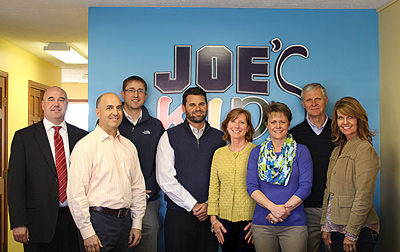 Pictured (L to R) are: Alan Alderfer, Joe's Kids board member; Rich Haddad, president & CEO, K21 Health Foundation; David Bazzoni, Joe's Kids board member; Josh Wildman, Joe's Kids board president; Shari Boyle, K21 Health Foundation board member; Rebecca Bazzoni, executive director, Joe's Kids; Dr. David Dick, K21 Health Foundation board member; and Lisa Hershberger, Joe's Kids board member. Photo provided